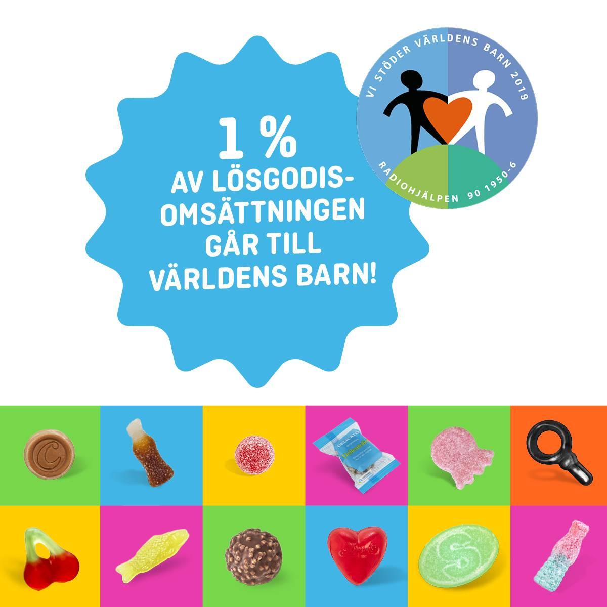 1 % av lösgodisomsättningen den 28/9 skänks till Världens barn!