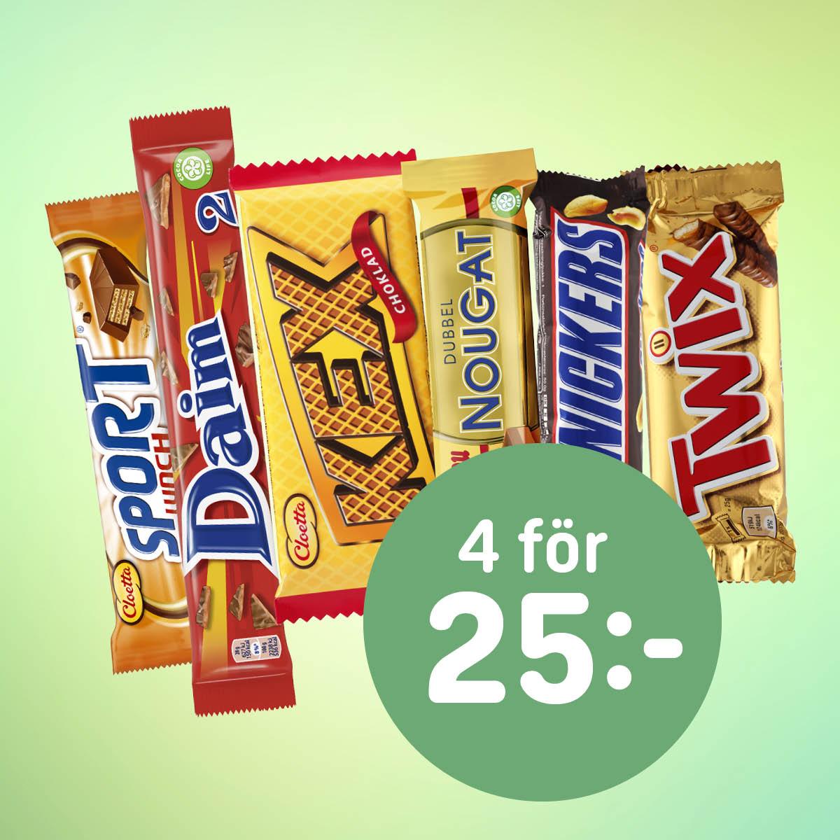 Choklad, 4 för 25:-