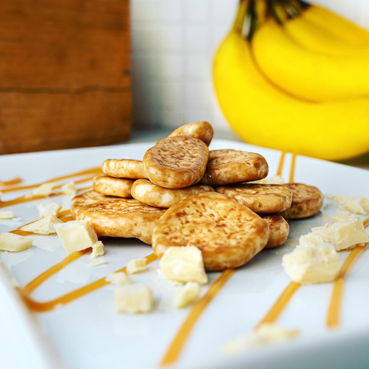 Bananasplit - bananchips med vitchoklad, kolasås och havssalt