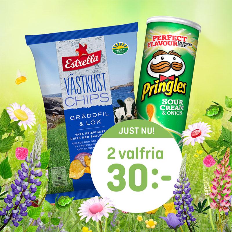 Välj fritt Estrella & Pringles: 2 för 30:- t.o.m 12/7.
