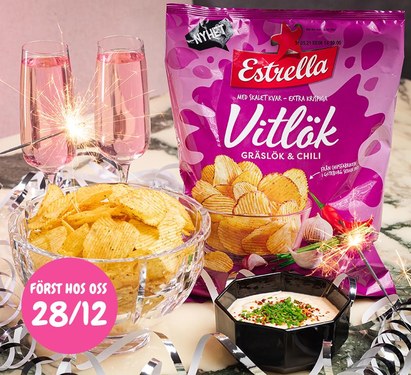 Estrella Vitlök, Gräslök och Chili. Först hos oss 28/12.