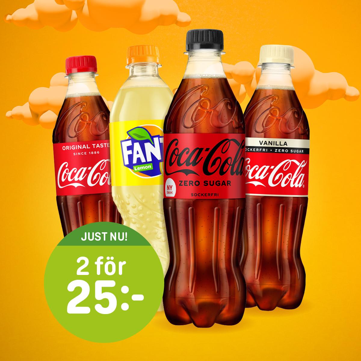 Dryck fr. Coca-Cola (50 cl) 2 för 25:- ex.pant (ord.pris 22:90/st ex.pant)