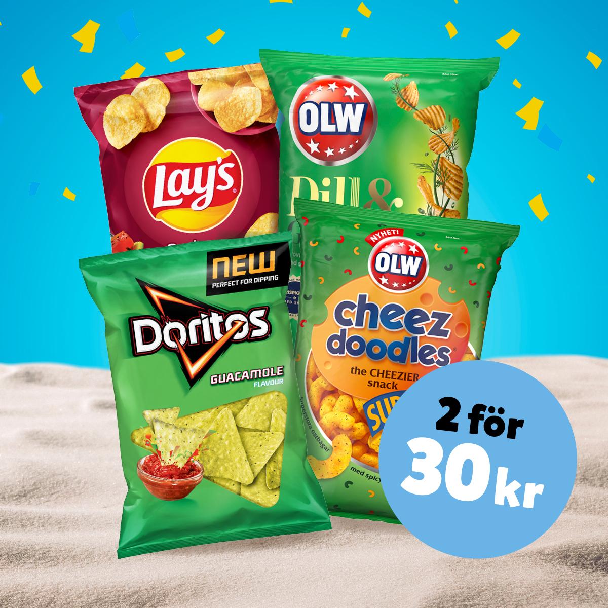 2 för 30:- OLW, Doritos & Lay's (125-200 g) Ord. pris från 26.90:-/st.