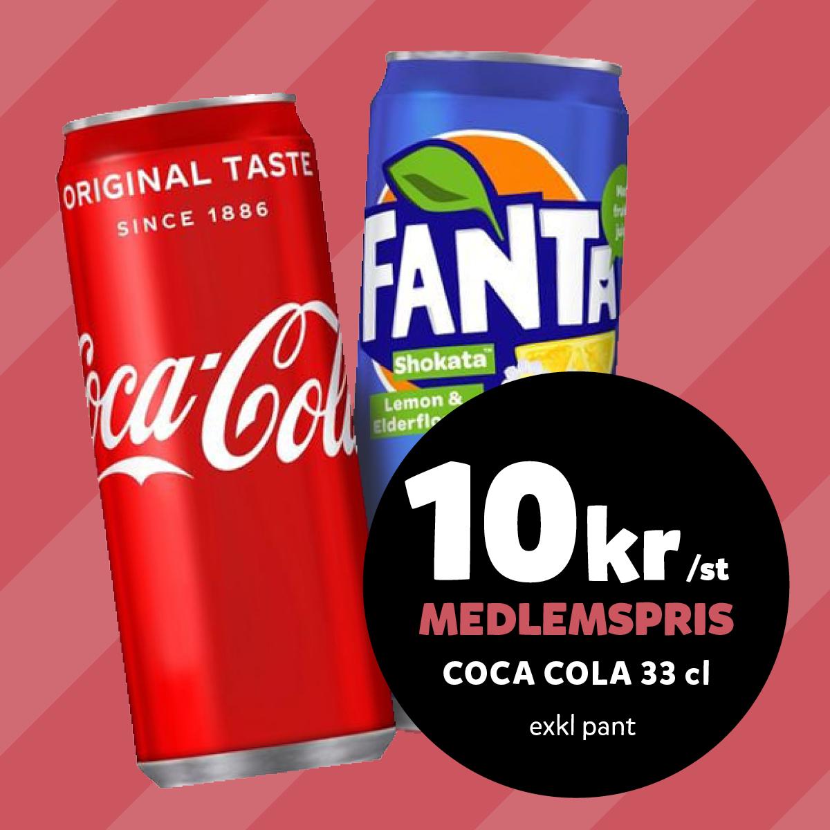 MEDLEM: 10:- ex pant t.o.m 29/8 Coca-Cola 33 cl (ord.pris 13.90/st ex pant)
