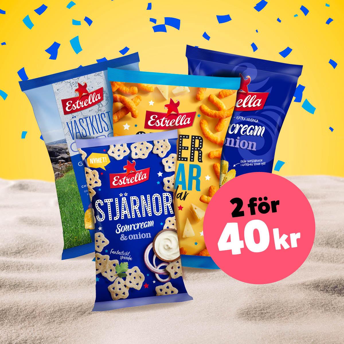 2 för 40:-, Estrella snacks