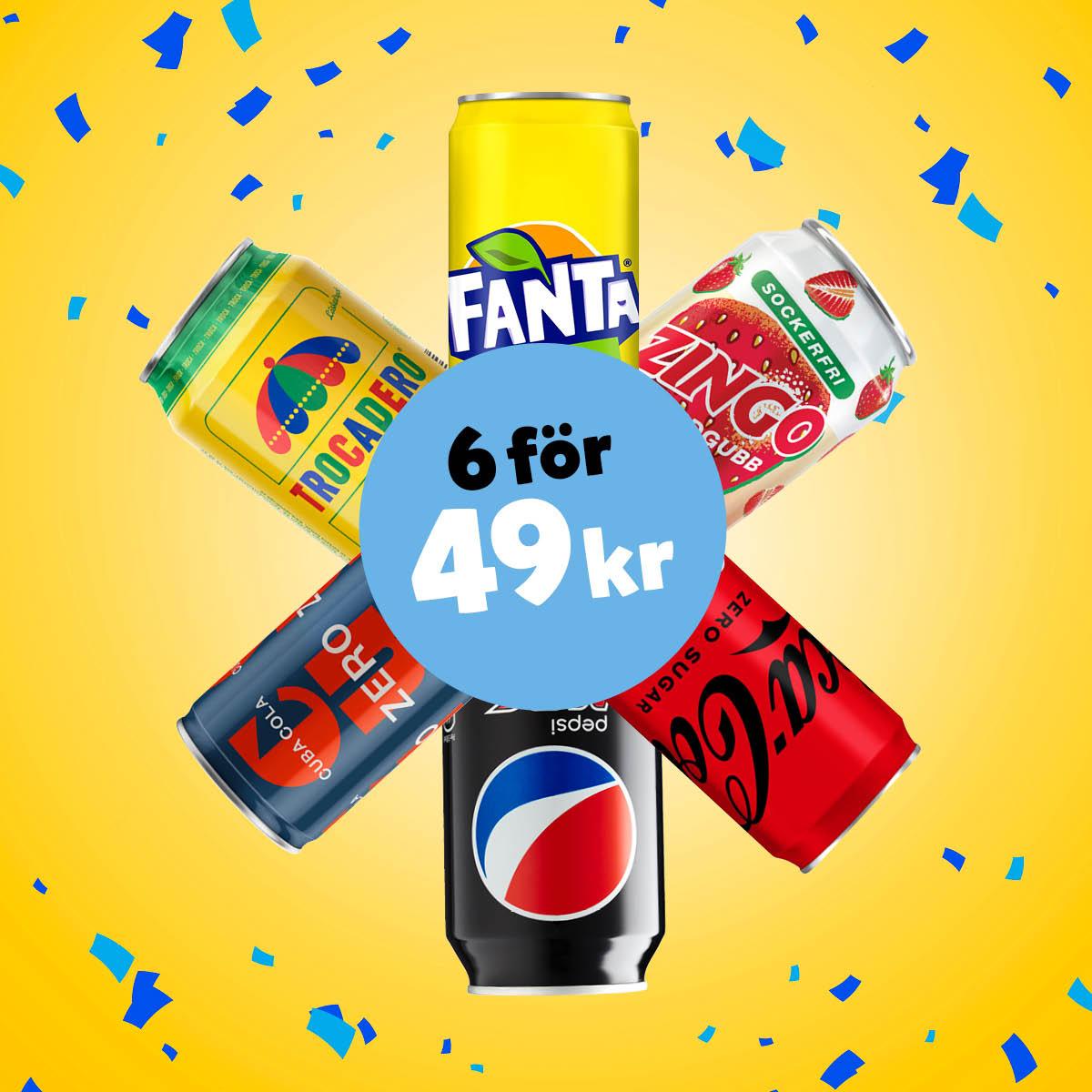 6 st 33 cl burkar för 49:- ex.pant. Välj fritt mellan Carlsberg, Coca-Cola, Spendrubs.
